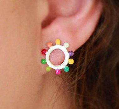 Coloured Circle Stud Earrings-Sterling Silver-Mini by ZuluAndLulu