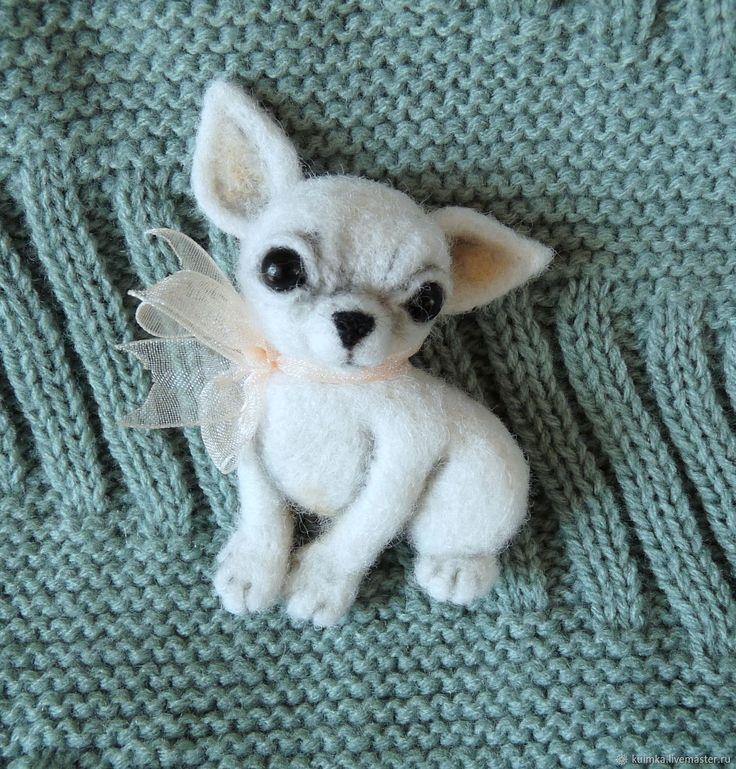 Купить Брошь валяная собачка Чихуахуа - белый, собачки, брошки собачки, валяные брошки