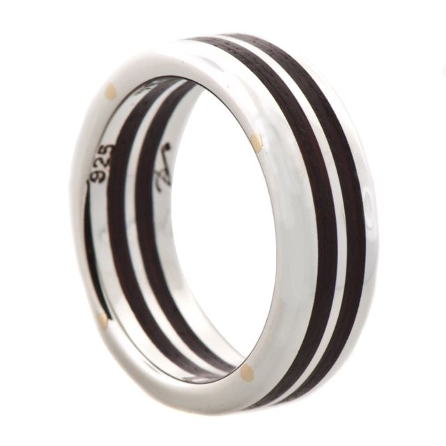 Silver and Double Wood Inlay Rivet Band   Sterling silver and brushed Brazilian wood. These rings are assembled with 10k gold rivets.8mm width.     $400