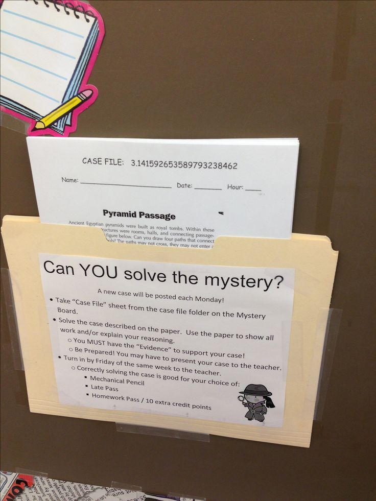 Problem of the week. Student learn to problem solve with difficult brain teasers, logic problems, and math word problems.