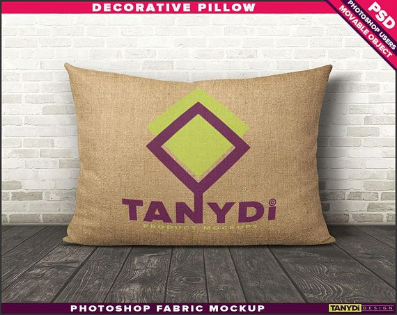 12x18 decorative pillow burlap natural photoshop fabric mockup m1 1218bn room stage cushion on wood floor smart object custom colors