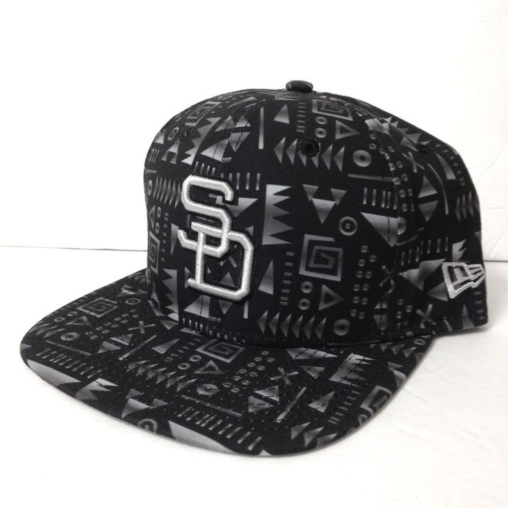 New SAN DIEGO PADRES SNAPBACK HAT Black Gray Geometric 70s Logo Men/Women 9FIFTY #NewEra #BaseballCap