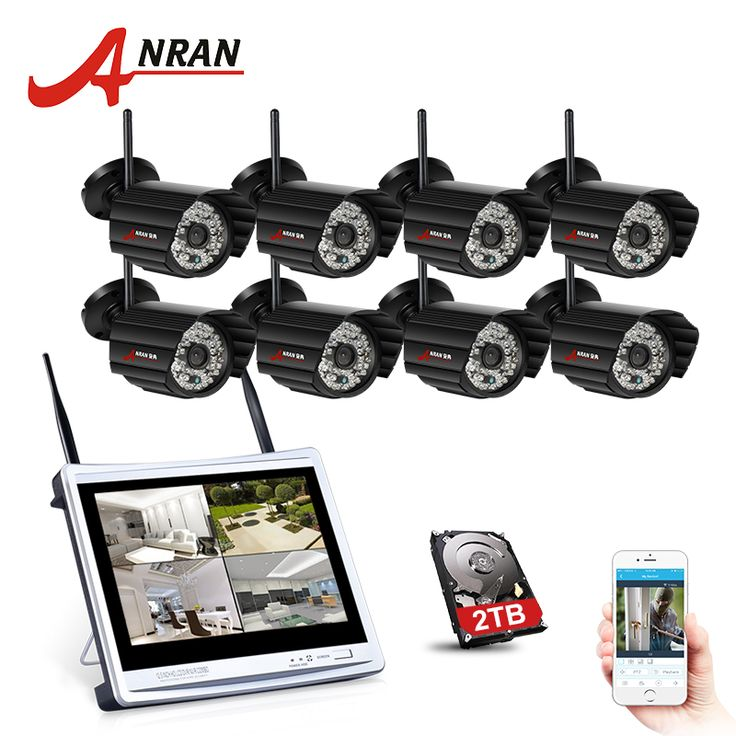 """ANRAN 8CH 12"""" LCD Screen NVR Wireless Surveillance System 8PCS 720P IP Camera Wifi Outdoor P2P Home Security Camera System"""