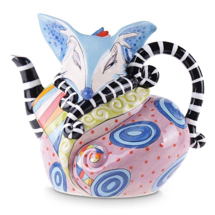 Fox Teapot Novelty Abstract Collectable Ceramic Teapot Blue Sky