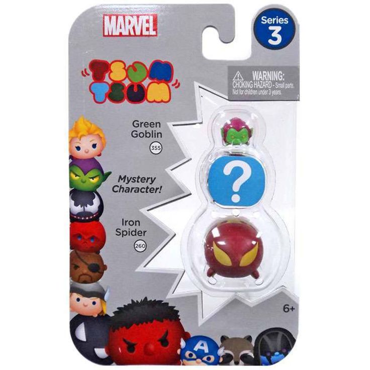 Tsum Tsum Marvel Series 3 Green Goblin Mystery Iron Spider 3 Figure Set