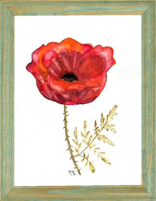 Poppy Watercolor Painting Art Print Printable Wall Art Red Poppy