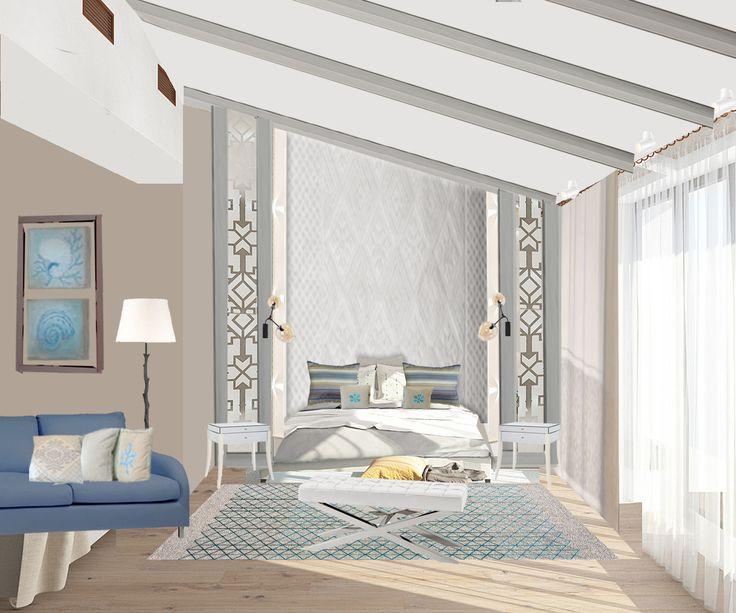 коллаж спальни в сардском стиле в современном прочтении
