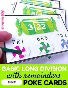 This is a very fun, self-checking, hands-on game to motivate students to practice the beginning steps of long division with remainders. I have my students try to do these mentally. The game contains 24 cards, a recording sheet, and an answer key.Check out how poke cards work in my Poke Card Video.Save and receive even more by purchasing the Upper Elementary Math Poke Card MEGA Bundle that includes this resource.Thanks for stopping by!Tabitha CarroFlapJack Educational Resources