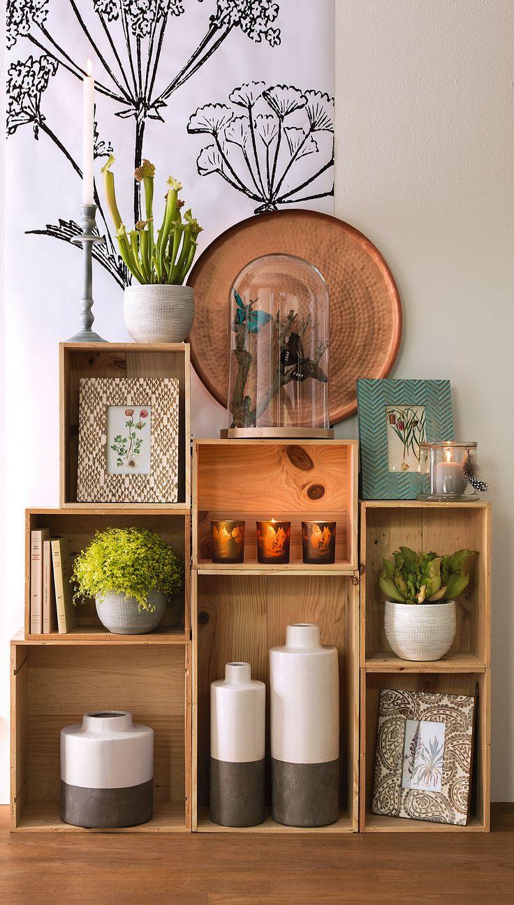 bois tons chauds plantes vertes une jolie d coration automnale home pinterest salons. Black Bedroom Furniture Sets. Home Design Ideas