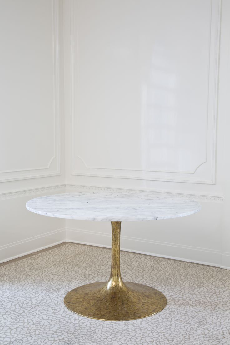 Solid White Carrara Marble Top With A Gold Leafed Metal Base. Its Design  Reflects The Essence Of Modern Dining Rooms.