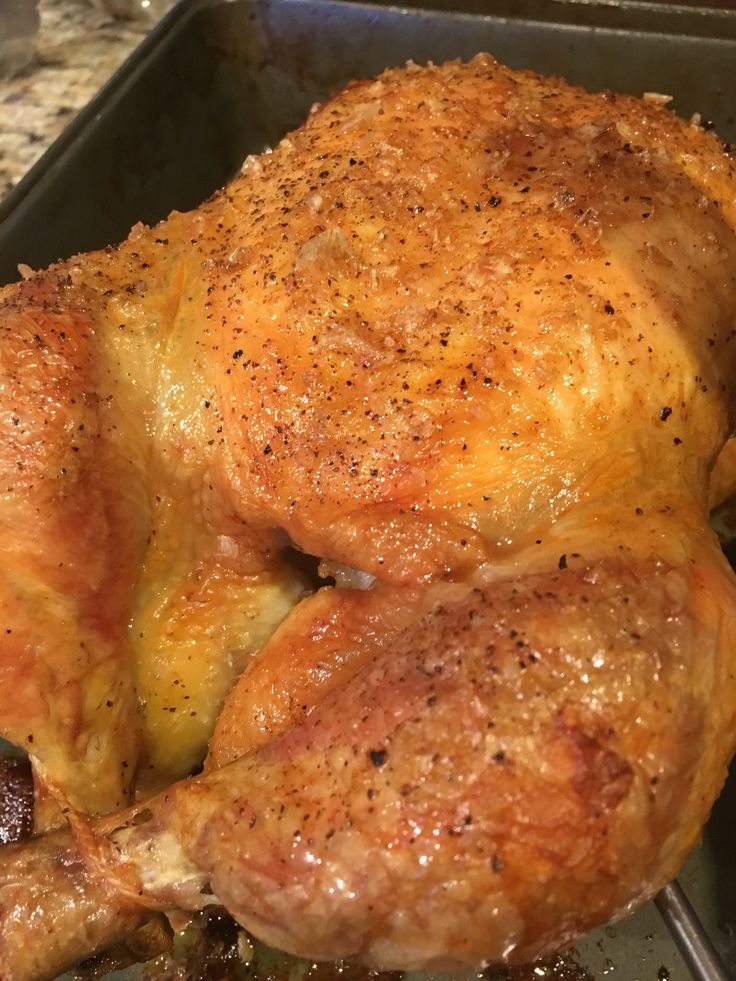 Simple recipe to achieve the BEST roasted chicken EVER! Thank you Thomas Keller ! 1 whole chicken ( 4-5 pounds) 1 tbls flaked salt 1/2 tsp ground pepper Roasting pan, cast iron pan etc …