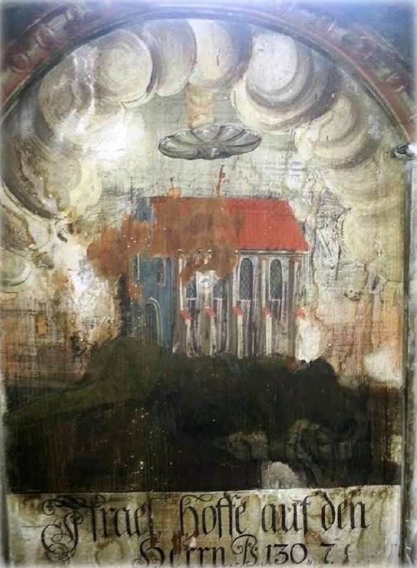 A curious disc-shaped flying object has been discovered on an old painting in the Biserica Manastirii, or Church of the Dominican Monastery, in the town of Sighisoara, Romania.An unidentified flying object is visible over the house.: