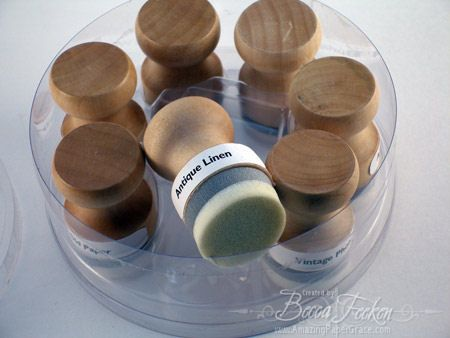 How-to make non-messy distress ink applicators.  In a pinch thread spools and bare wood blocks work for this as well.