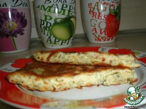 """Ингредиенты для """"Блиц-рецепт """"Хачапури"""""""": Сыр твердый (тертый) — 200 г Укроп (зелень ) — 100 г Яйцо куриное — 2 шт Сметана — 200 г Мука пшеничная — 2 ст. л. Масло растительное — 2 ст. л."""