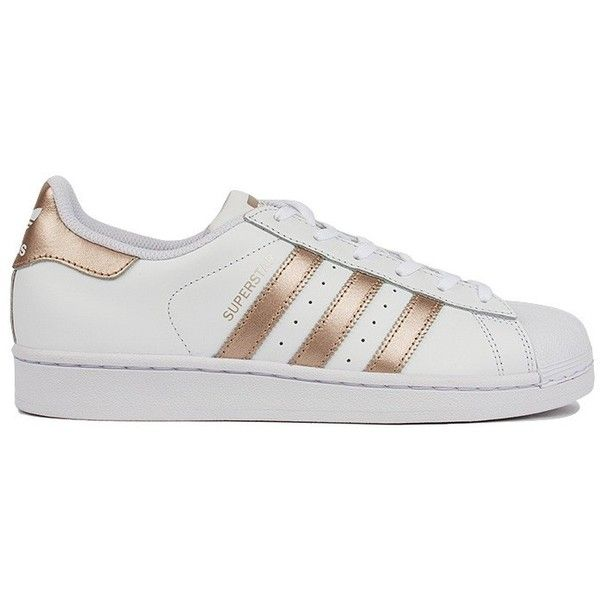 Adidas Womens Superstar in White & Gold ($80) ❤ liked on Polyvore featuring shoes, sneakers, perforated shoes, laced shoes, lace up sneakers, stripe shoes and adidas shoes