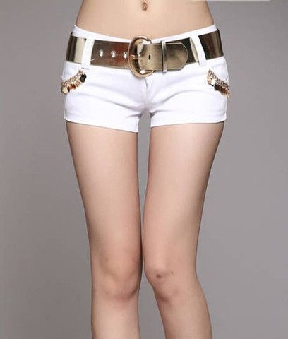 Stylish Women's Metal Embellished Solid Color Shorts with Belt – teeteecee - fashion in style