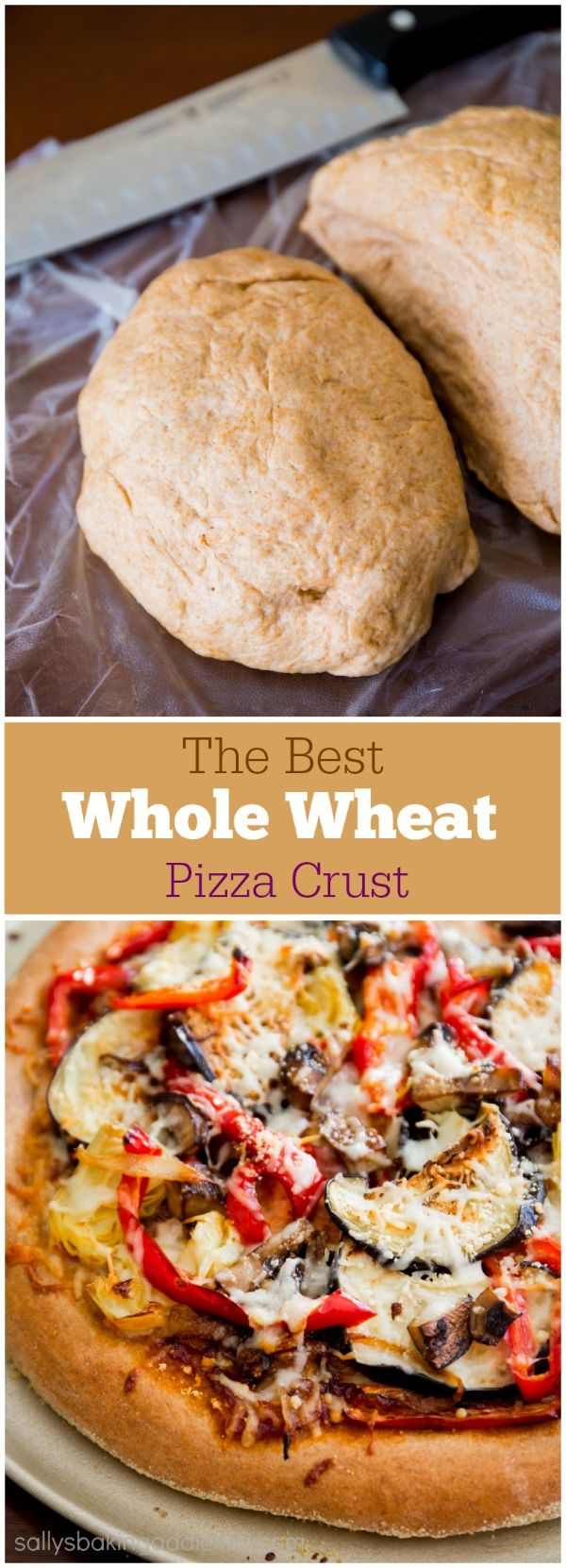 How to Make Homemade Whole Wheat Pizza Crust. Honey-sweetened, soft, fluffy, and so simple! Step by step visuals on sallysbakingaddiction.com