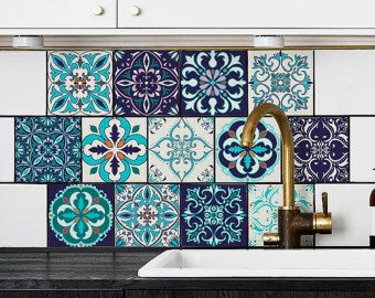 Blue Portuguese Tile Stickers PACK OF 24 Lisbon by StickersColoray