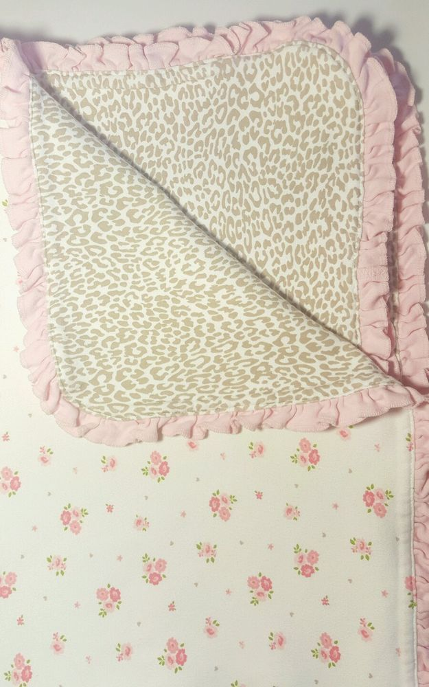 Carters OS Baby Blanket White Pink Floral/ Cheetah Leopard Ruffle Trim 25x32  #Carters