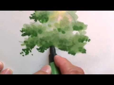 ▶ Mike Lin: How to draw a tree with markers - YouTube