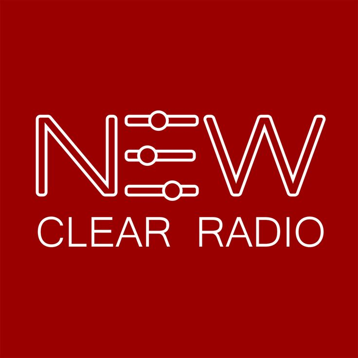 Our logo. RED. Listen on http://newclearradio.net/