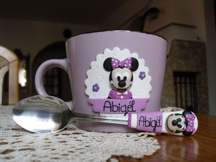 Mickey mouse ,minnie ,fimo mug and spoon