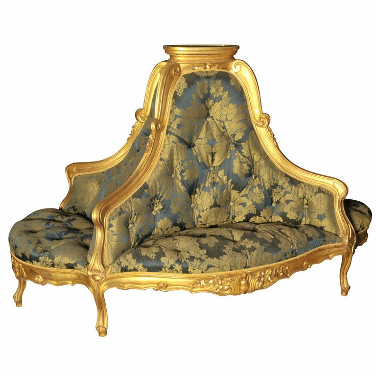 """Gilt wooden French """"lobby sofa""""  France  19th century  Gilt wooden French """"lobby sofa"""" with padded upholstery, style Rococo."""