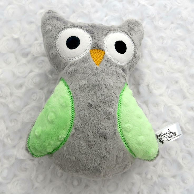 Grey and lime owl plushie