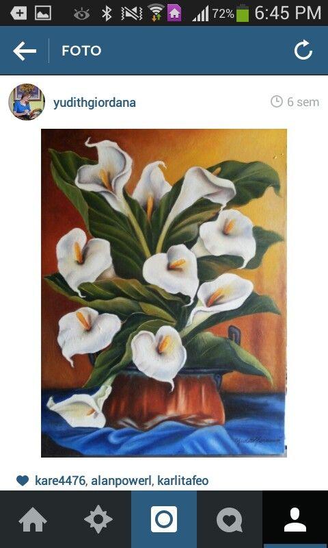 Mi pintura en óleo,flores,calad,alcatraces,cartuchos.