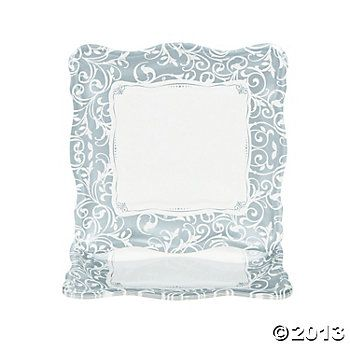 Silver Swirl Wedding Dinner Plates, Party Plates, Tableware, Party Themes & Events - Oriental Trading