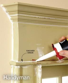How to repaint chipped, flaking or dirty moldings so they look like new; the secrets of a professional-looking job.  Squeeze caulk into every gap and crack.