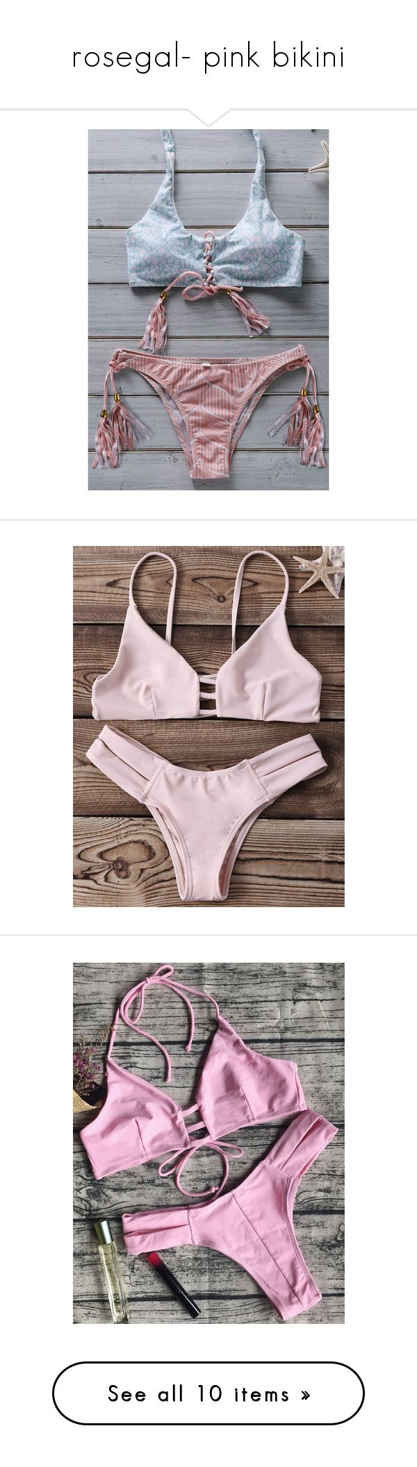 """rosegal- pink bikini"" by fshionme ❤ liked on Polyvore featuring swimwear, bikinis, floral swimwear, floral bikini swimwear, halter bikini swimwear, halter top, halter-neck bikinis, strappy cut out bikini, cut-out swimwear and bikini two piece"