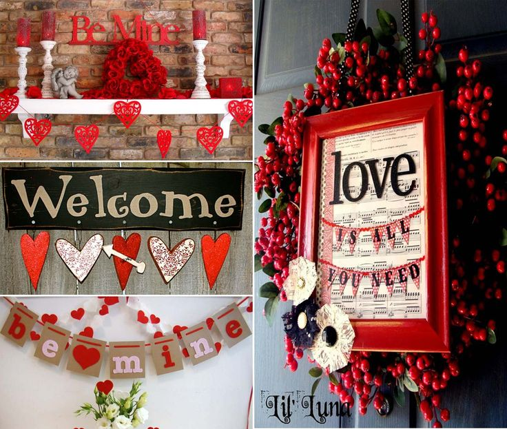 Use Christmas wreaths and candles, but add Valentine's hearts and quotes for…