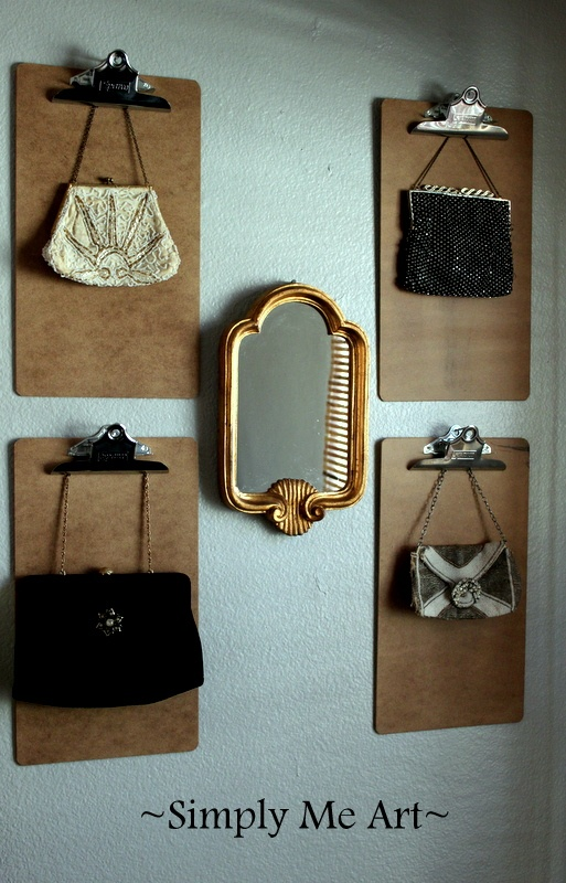 Excellent idea for purse storage-looks good & you can see your choices!  Clip board to hold purses, I'd hang the handles OVER the clips to prevent damage to the handles