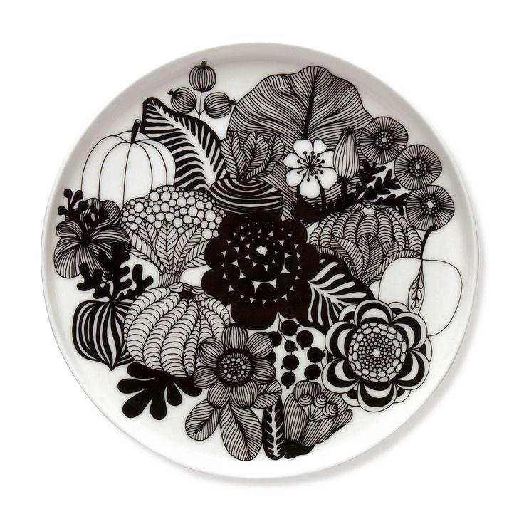 Marimekko Siirtolapuutarha Black / White Salad Plate