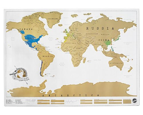 Scratch off the gold on the map to show the places you've traveled. Awesome idea!
