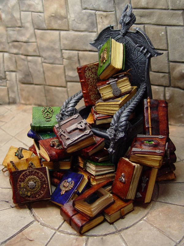 scholars study part 5 wizard books in miniature by Ericka VanHorn...you just can't have too many!
