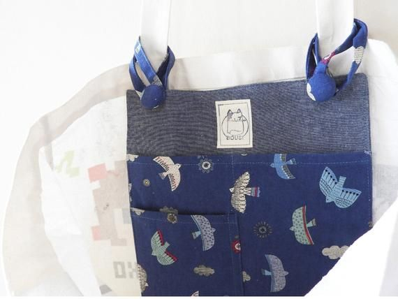 Tote bag organizer, blue bird tote bag insert, canvas bag insert, nice teacher gift