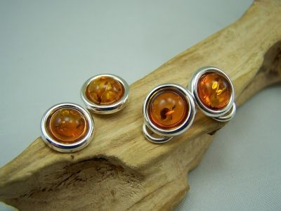 Amber clip on earrings - cognac amber colour.