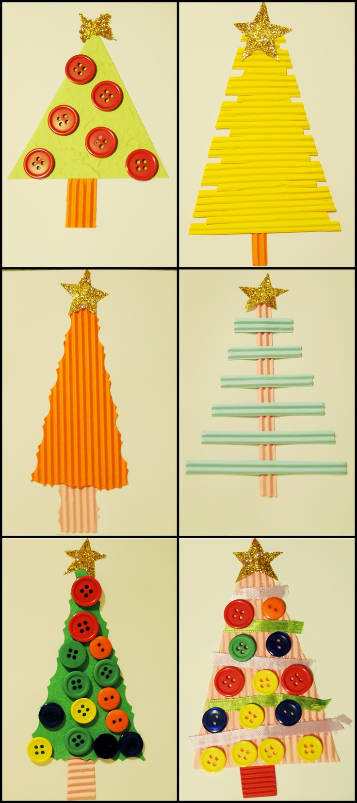 The kids and I made these Christmas cards out of scrap paper, ribbons and buttons! So fun!