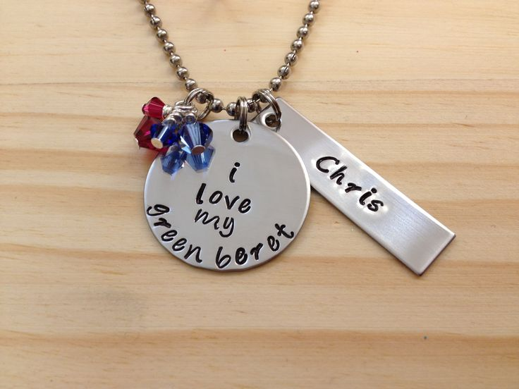Hand Stamped I Love My Green Beret Necklace Special Forces Army Soldiers Wife or Girlfriend Mother Can Also be made for other branches of military The Army, Air Force, Navy, Marine Corps, and Coast Guard.   from Charms For An Angel Mother's Day Gift