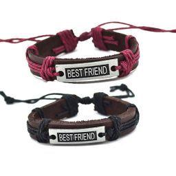 Кожаные парные браслеты - Лучшие друзья  Коричневый с малиновым