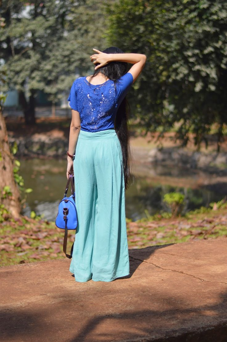 Lace insert top, royal blue top, palazzo pants, how to wear lace tops
