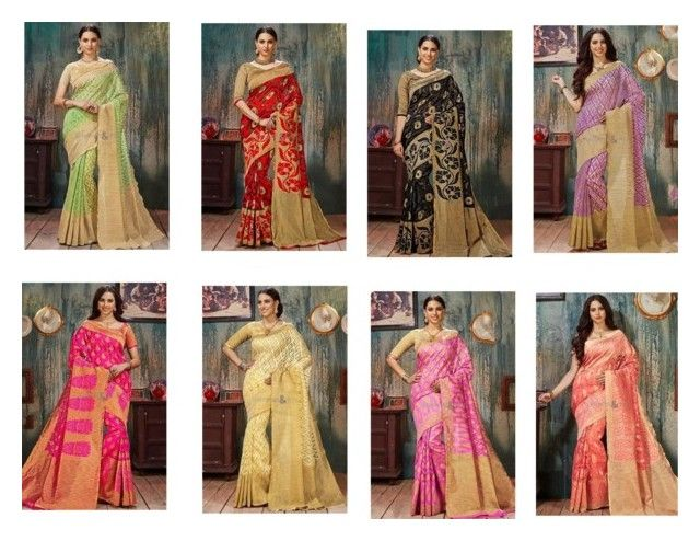 """""""Ravishing  Silk Cheap Saree With Green Silk Blouse"""" by designersandyou ❤ liked on Polyvore featuring contemporary"""