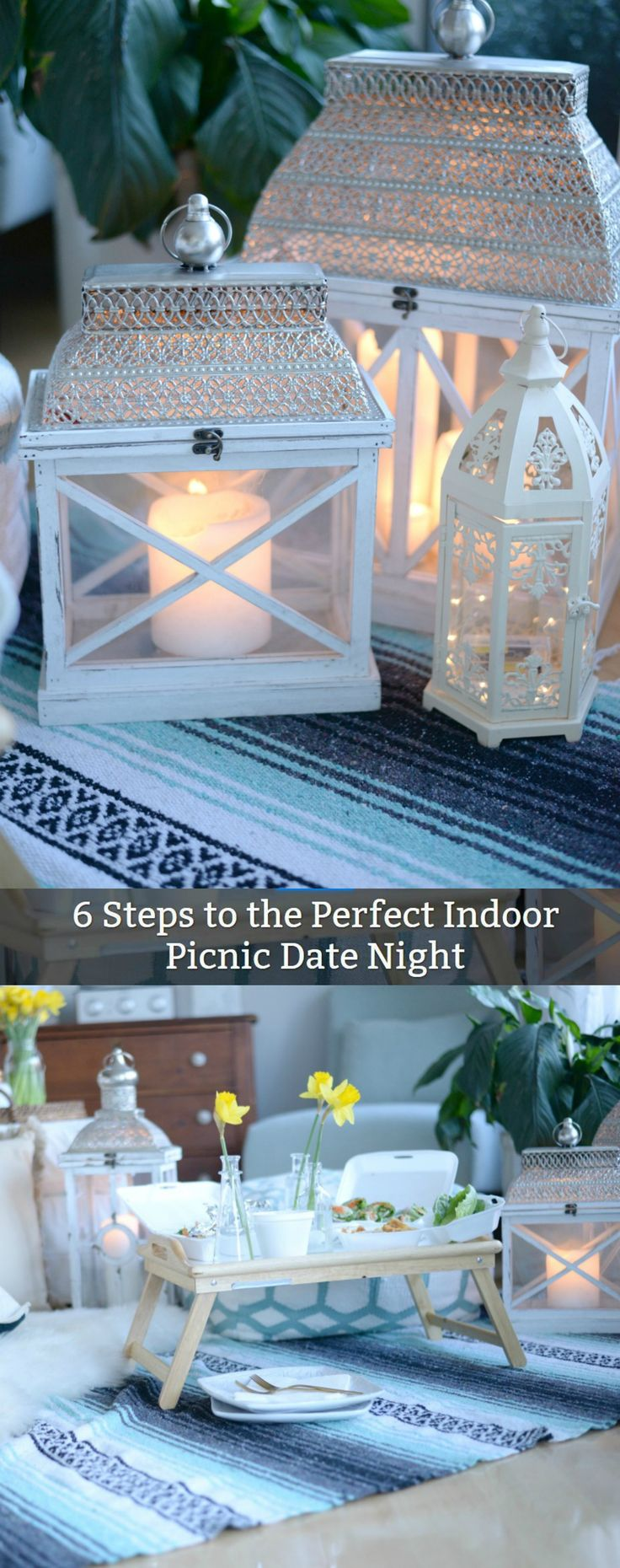 Ramp up your dinner routine with this fun indoor picnic idea. Save it for a date night or share the dinner with your entire family.