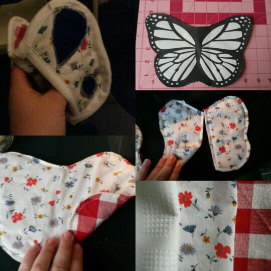 Butterfly Oven Mitt - My Own Pattern  Have made more since. A larger pattern/buttetfly is easier and more user friendly as an oven mitt.
