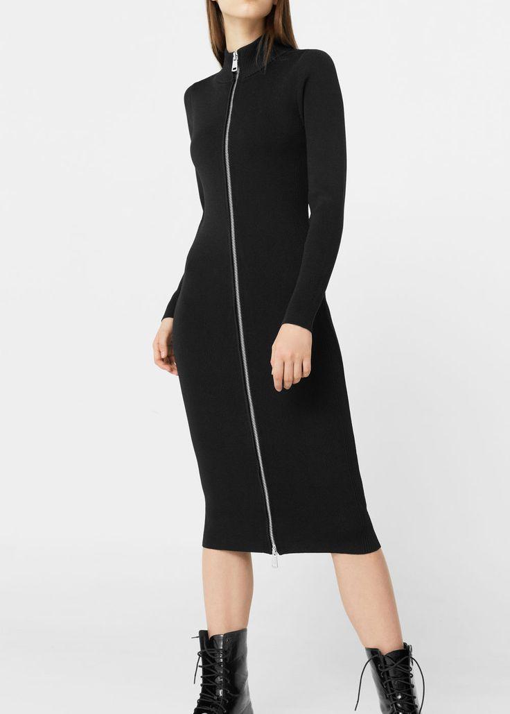 Zip knitted dress | MANGO
