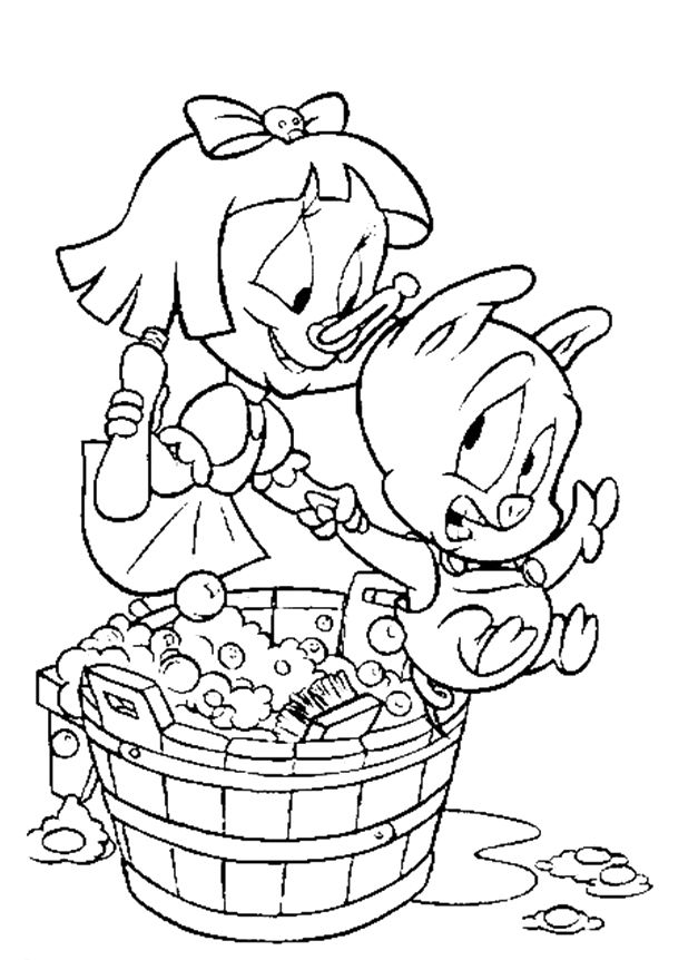 Baby Porky Pig Bathed Coloring