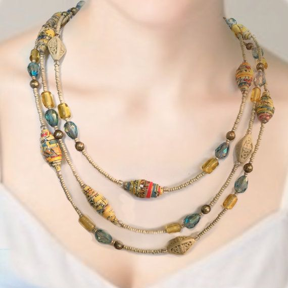 Paper bead necklace with pearls and carved bead by BanburyCourt