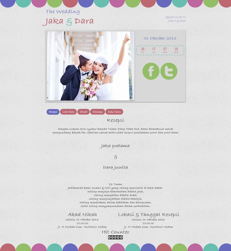 Desain undangan online simple penuh warna, Colorfull Pro